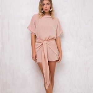 Princess Polly Shimmers Wrap Dress blush Large